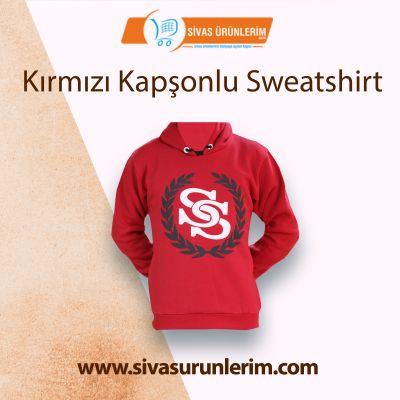 Kırmızı Kapşonlu Sweatshirt